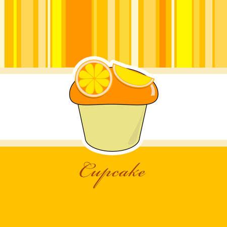 Orange cupcake with orange pieces