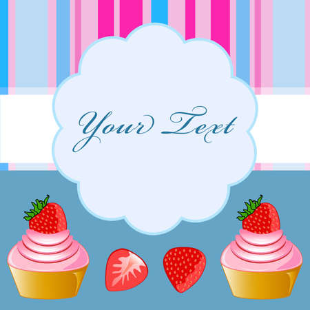Strawberry cupcake on blue background card photo