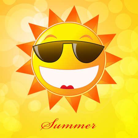 Cartoon sun in sunglasses. Summer time.  photo