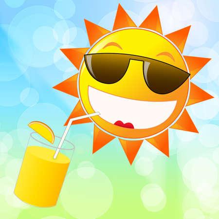 Cartoon sol en las gafas de sol bebiendo jugo de naranja. Horario de verano