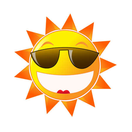 Cartoon sun in sunglasses on white background. Summer time. photo