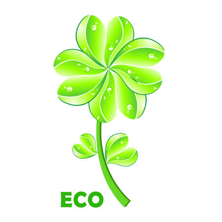Eco concept. Flower and leaf heart shape on white background. photo