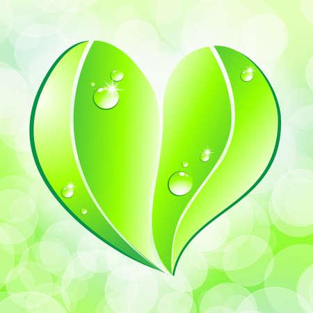 Eco friendly concept. Leaf heart shape on bokeh background.