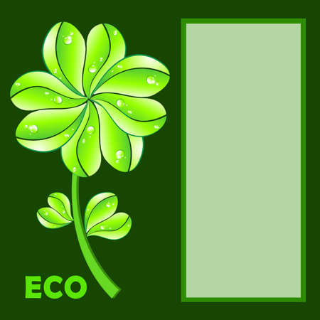 Eco concept. Flower and leaf heart shape on green background. photo