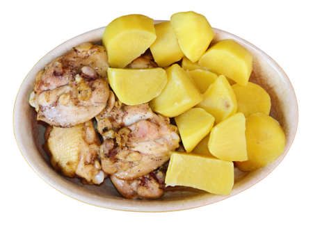 Chicken with boiled potatoes on white background  Stock Photo