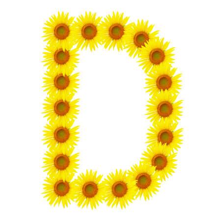 Yellow sunflowers alphabet D