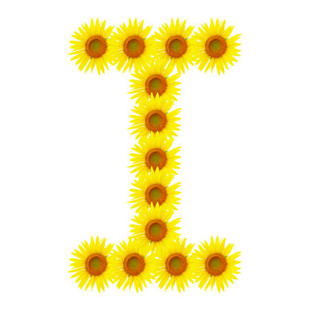 Yellow sunflowers alphabet I photo