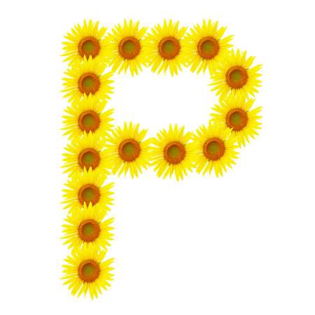 Yellow sunflowers alphabet P