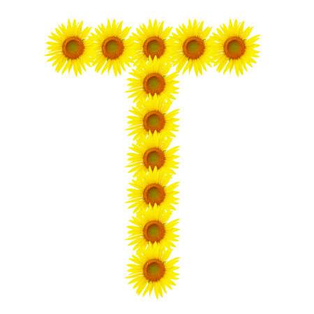Yellow sunflowers alphabet T photo