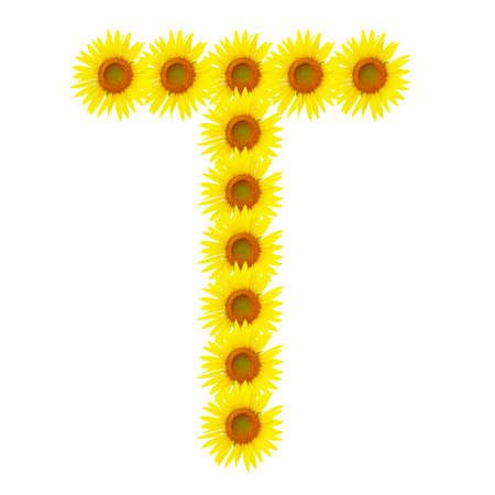 Yellow sunflowers alphabet T