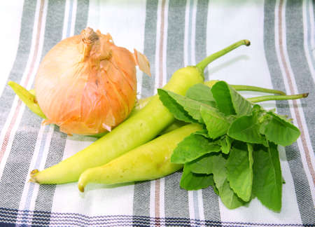 Green pepper and Golden onion and Holy basil Stock Photo