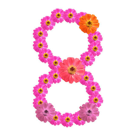 numerology: Flower number on isolate. Number eight
