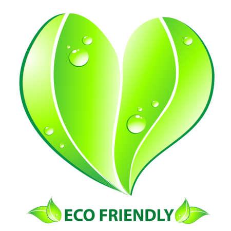 Eco friendly concept  Heart leaf shape  Vector illustration