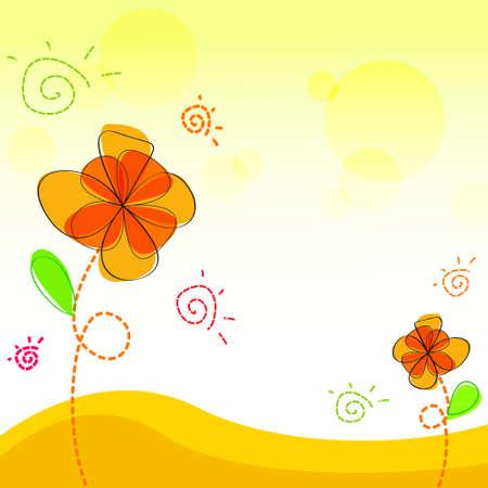 Vector of orange flower background