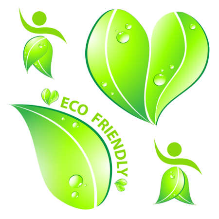 Set of Eco friendly concept  Vector illustration  Vector