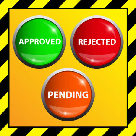 Approved , pending and rejected buttons  Vector illustration  Vector