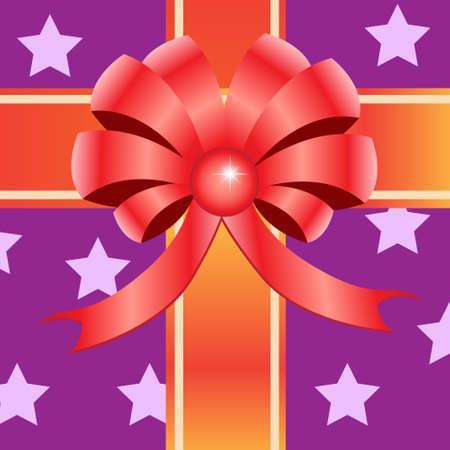 Gift ribbon bow on purple star background  Vector illustration  Stock Vector - 14996174