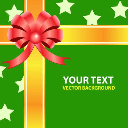 Gift ribbon bow on green background  Vector illustration Stock Vector - 14996172