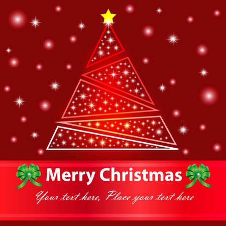 Merry Christmas Card, Christmas tree and snow  Vector Illustration Stock Vector - 14996199