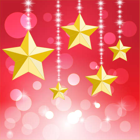 Merry Christmas and Happy New Year Card, Christmas star and bokeh  Vector Illustration  Stock Vector - 14996204