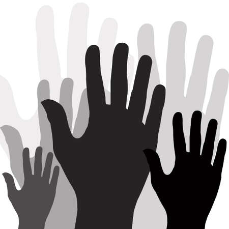 Large group of raising hands vector illustration  Illustration