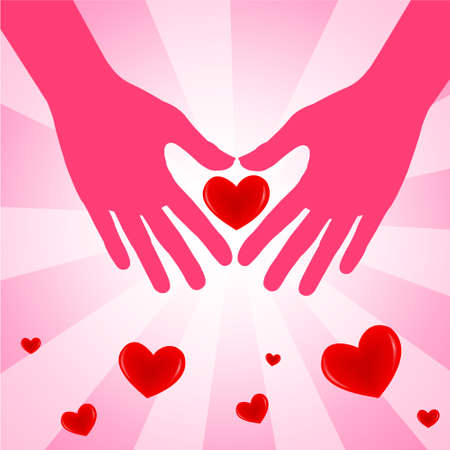 Hand with love heart on pink background  Vector illustration  Illustration