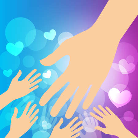 Helping hands , Helpful hands on bokeh background  Vector illustration