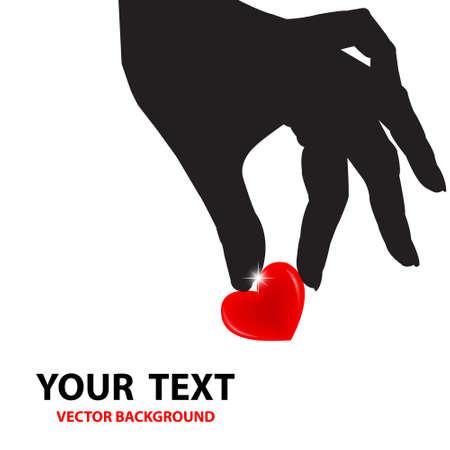 Beyaz zemin üzerine kırmızı kalp tutan siluet el sevgililer Vektör illüstratör Aşk