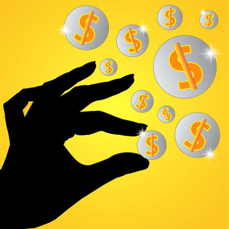 Hand holds the money on orange background  Business concept  Vector illustrator  Vector