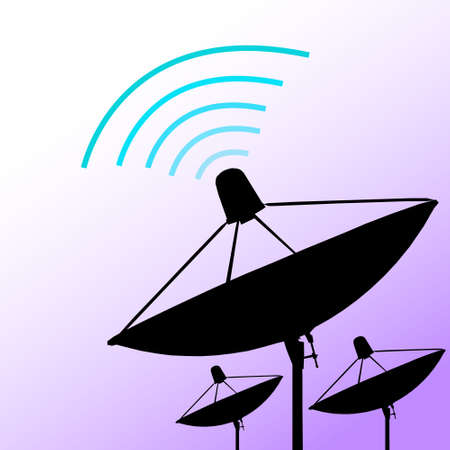 Silhouette satellite on purple background  Communication and technology  Vector illustration