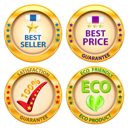 Set of label  Best price,Best seller,Satisfaction guarantee,Eco product label  Vector illustration  Stock Vector - 14996220