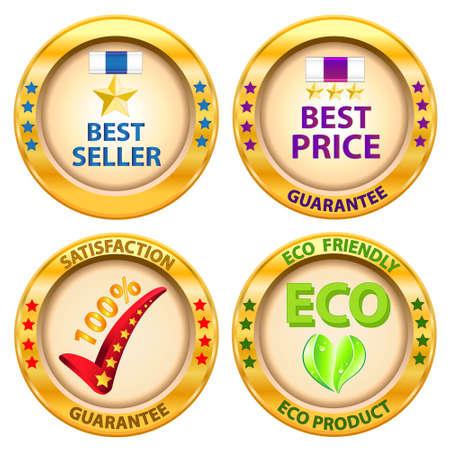 Set of label  Best price,Best seller,Satisfaction guarantee,Eco product label  Vector illustration Stock Vector - 14996220