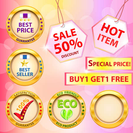 Set of label  Best price,Best seller,Satisfaction guarantee,Eco product label  Vector illustration Stock Vector - 14996231