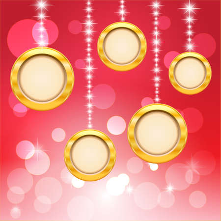 Circle and bokeh on red background  Merry Christmas and Happy New Year  Vector Illustration Stock Vector - 14996245