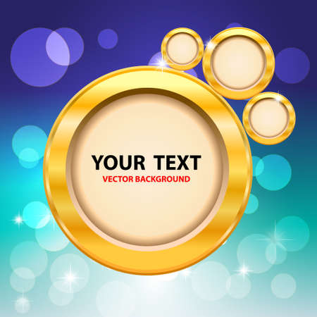 Gold circles and bokeh on blue background  Vector Illustration  Vector