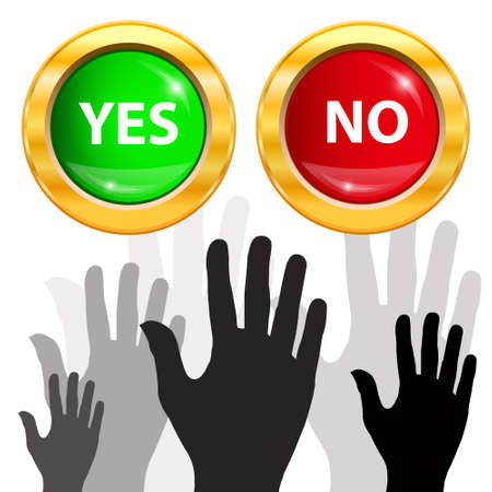 Large group of raising hands  Vote and yes or no button  Vector illustration  Stock Vector - 14996225