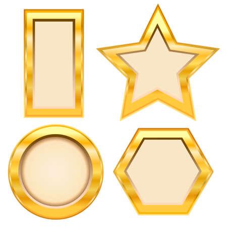 Set of golden frame on white background  Vector illustration