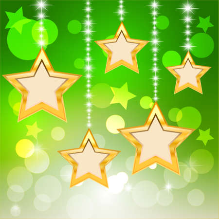 Star and bokeh on green background  Merry Christmas and Happy New Year  Vector Illustration Stock Vector - 14996246