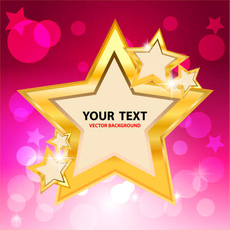 Gold star frame and bokeh on pink background  Vector Illustration