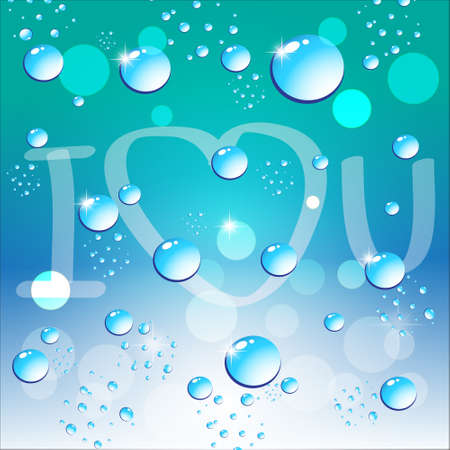 Water bubbles and bokeh on blue background with i love you message  Vector illustration  Vector