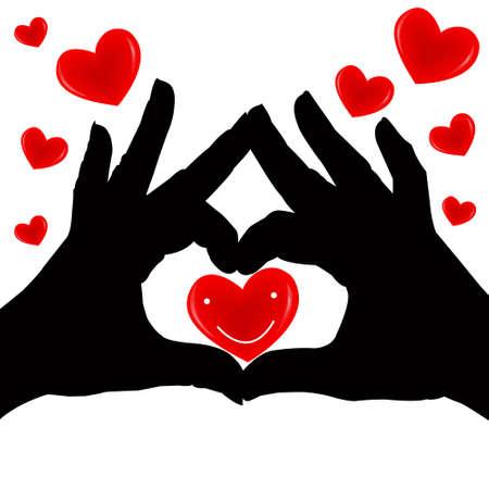 Silhouette hand holding the red heart on white background  Love valentine  Vector illustrator Stock Vector - 14996223
