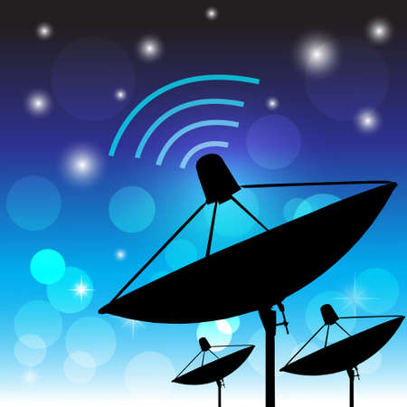 Silhouette satellite on blue background  Communication and technology  Vector illustration Vector