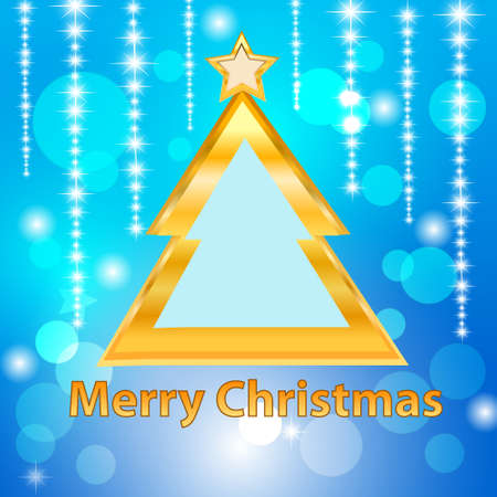 Merry Christmas Card, Gold Christmas tree and bokeh  Vector Illustration