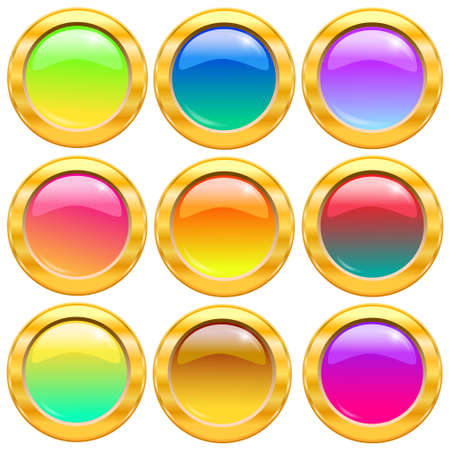 Set of gold and colorful buttons Vector illustration  Stock Vector - 14996229