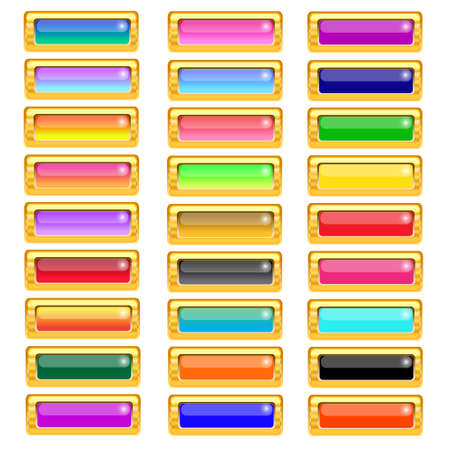 Set of gold and colorful buttons for website Vector illustration Stock Vector - 14996226