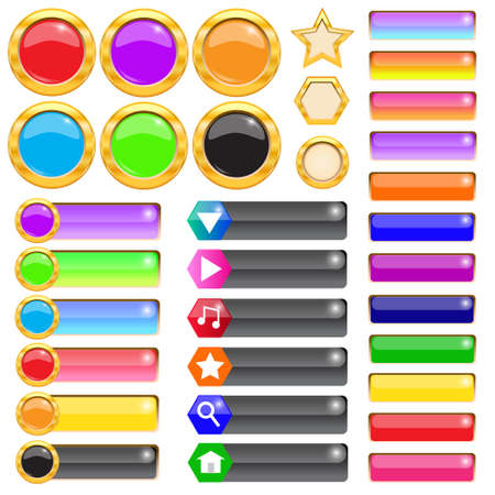 Set of gold and colorful buttons for website Vector illustration Vector