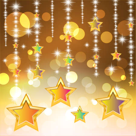 Star and bokeh on brown background  Vector Illustration