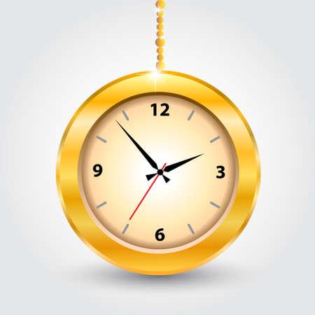 The gold modern clocks  Vector illustration Stock Vector - 14996222