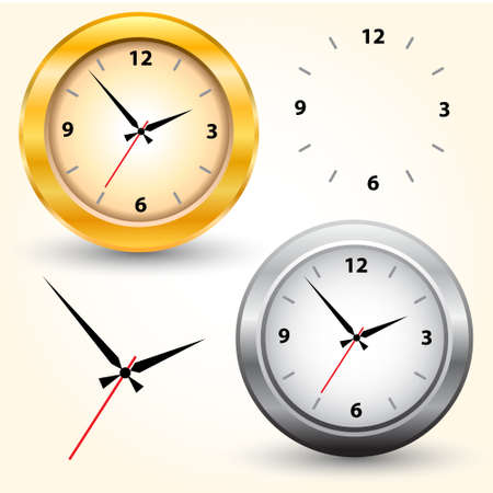 The gold and silver modern clocks  Vector illustration Stock Vector - 14996219