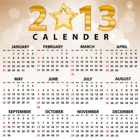 2013 Calendar full year  12 months  Vector illustration  Vector